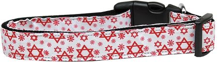 Dog Collars: Nylon Ribbon Collar STAR OF DAVID RED by MiragePetProducts - Matching Leash Sold Separately