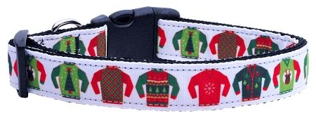 Holiday Nylon Dog Collars: Nylon Ribbon Collar UGLY SWEATER - Matching Leash Sold Separately