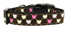 Holiday Dog Collars: Ribbon Dog Collar ARGYLE HEARTS - Matching Leash Sold Separately