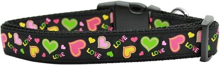 Holiday Nylon Dog Collars: USA Nylon Ribbon Collar NEON LOVE - Matching Leash Sold Separately