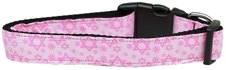 Dog Collars: Nylon Ribbon Collar STAR OF DAVID PINK - Matching Leash Sold Separately