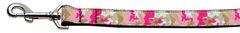 Nylon Dog Leashes: Pink Camo Nylon Dog Leash Mirage Pet Products USA