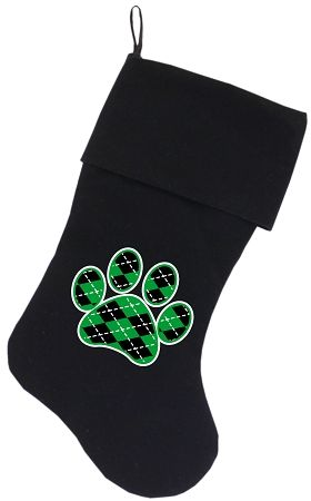 Dog Christmas Stockings: Screen Print ARGYLE GREEN PAW Christmas Stocking for Dogs in Various Colors