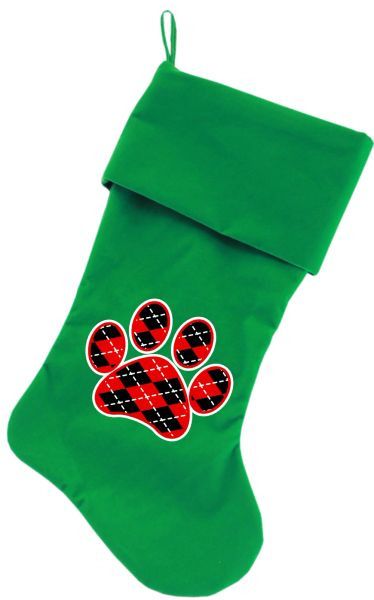 Dog Christmas Stockings: Screen Print ARGYLE RED PAW Christmas Stocking for Dogs in Various Colors
