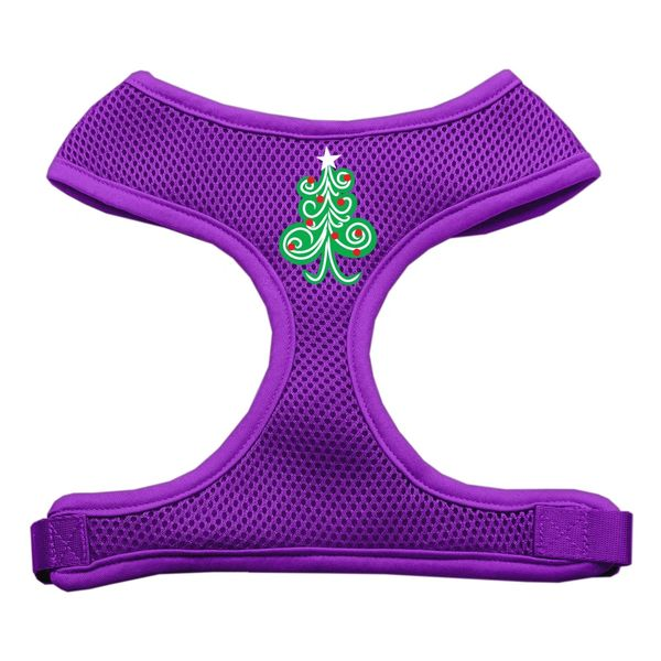 Dog Harnesses: Screen Print of a SWIRLY CHRISTMAS TREE Soft Mesh Dog Harness in Several Sizes & Colors USA