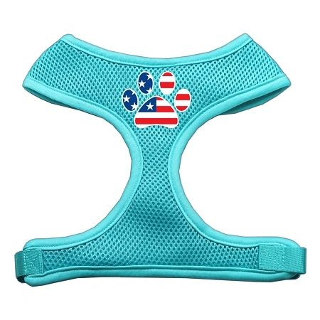 Dog Harnesses: Screen Print - PAW FLAG Soft Mesh Dog Harness in Several Sizes & Colors USA