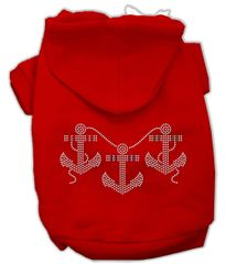 Dog Hoodies: Cute Rhinestone ANCHORS Dog Hoodie by Mirage Pet Products USA