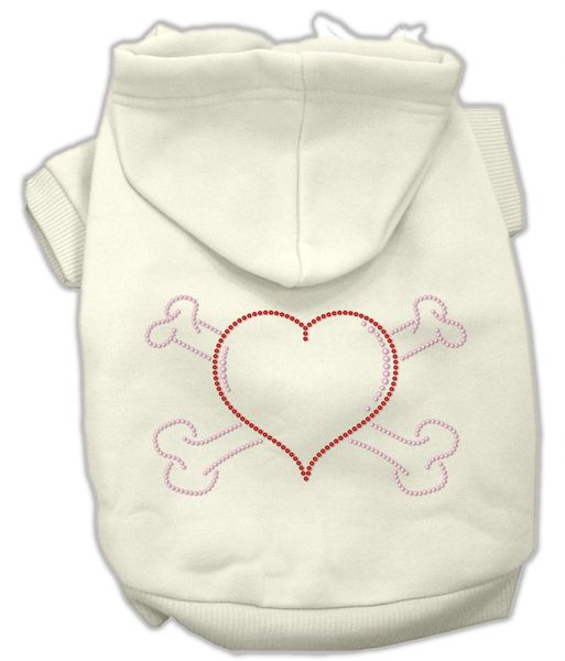 Dog Hoodies: Rhinestone HEART & CROSSBONES Dog Hoodie by Mirage Pet Products USA