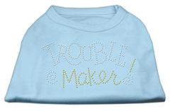 Dog Shirts: TROUBLE MAKER Rhinestone Dog Shirt in Various Colors & Sizes by Mirage