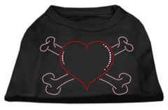 Dog Shirts: HEART AND CROSSBONES Rhinestone Dog Shirt in Various Colors & Sizes by Mirage