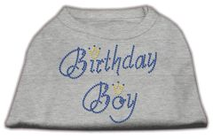 Dog Shirts: BIRTHDAY BOY Rhinestone Dog Shirt in Various Colors & Sizes by Mirage