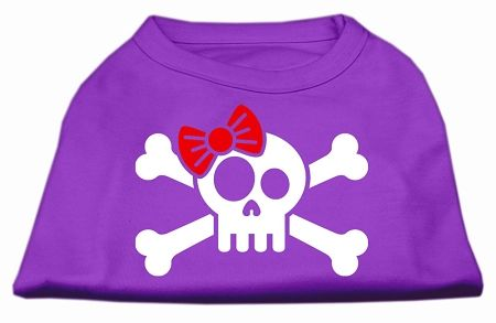 Dog Shirts: SKULL CROSSBONE BOW Screen Print Dog Shirt in Various Colors & Sizes by Mirage