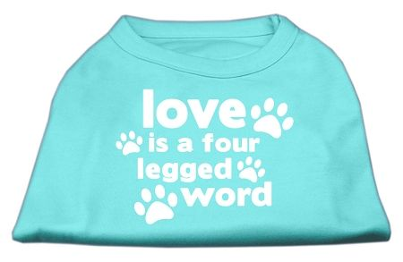 Dog Shirts: LOVE IS A FOUR LEGGED WORD Screen Print Dog Shirt in Various Colors & Sizes by Mirage