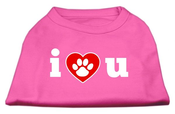 Dog Shirts: I LOVE YOU Screen Print Dog Shirt in Various Colors & Sizes by Mirage