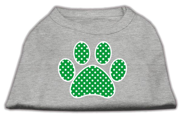 Dog Shirts: GREEN SWISS DOT PAW design Screen Print Dog Shirt in Various Colors & Sizes by Mirage