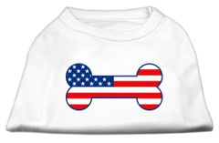 Dog Shirts: BONE SHAPED AMERICAN FLAG Screen Print Dog Shirt in Various Colors & Sizes by Mirage