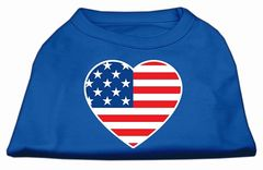 Dog Shirts: AMERICAN HEART FLAG Screen Print Dog Shirt in Various Colors & Sizes by Mirage