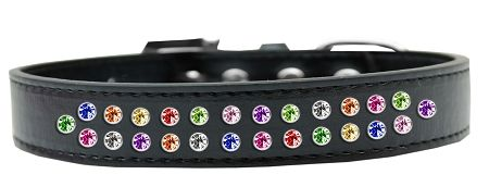 BLING DOG COLLARS: Dog Collar in Various Sizes & Colors USA by Mirage - TWO ROWS CONFETTI