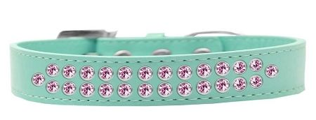 BLING DOG COLLARS: Dog Collar in Various Sizes & Colors USA by Mirage - TWO ROWS LIGHT PINK CRYSTALS