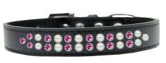 BLING DOG COLLARS: Dog Collar in Various Sizes & Colors by Mirage - TWO ROWS PEARLS & PINK CRYSTALS