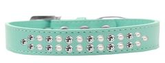 BLING DOG COLLARS: Dog Collar in Various Sizes & Colors USA by Mirage-TWO ROWS PEARLS & CLEAR CRYSTALS