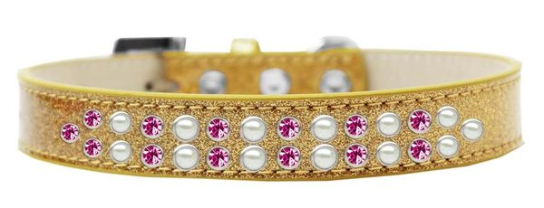 BLING DOG COLLARS: Dog Collar Various Sizes & Colors - TWO ROWS PEARLS & PINK CRYSTALS/ICE CREAM COLLAR
