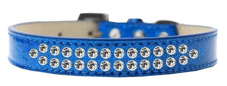 BLING DOG COLLARS: Dog Collar in Various Sizes & Colors by Mirage - TWO ROWS CLEAR CRYSTALS/ ICE CREAM COLLAR