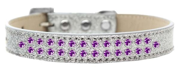 BLING DOG COLLARS: Dog Collar Various Sizes & Colors by Mirage - TWO ROWS PURPLE CRYSTALS on ICE CREAM COLLAR