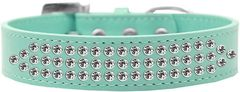 BLING DOG COLLARS: Beautiful THREE ROWS CLEAR CRYSTALS Dog Collar in Various Sizes & Colors