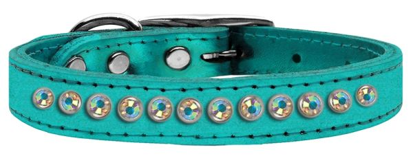 Leather Dog Collars: Genuine METALLIC Leather Fancy Dog Collar by Mirage - ONE ROW AB CRYSTALS