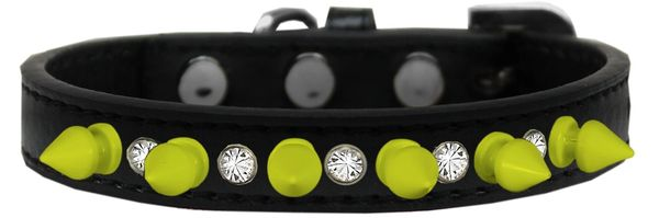"Spike Dog Collars: Unique 1/2"" Wide Collar Clear Crystals & Neon Yellow Spikes on Dog Collar"