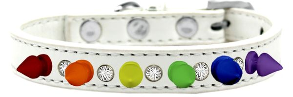 "Spike Dog Collars: Unique 1/2"" Wide Collar One Row Clear Crystals & Rainbow Spikes on Dog Collar"