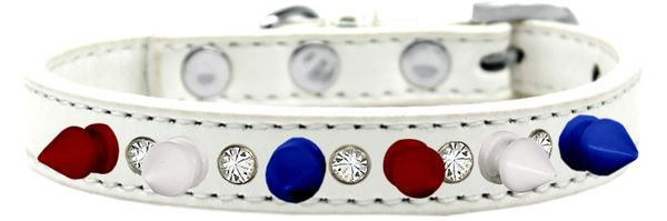 "Spike Dog Collars: Unique 1/2"" Wide Collar One Row Clear Crystals with Red, White, Blue Spikes on Dog Collar"