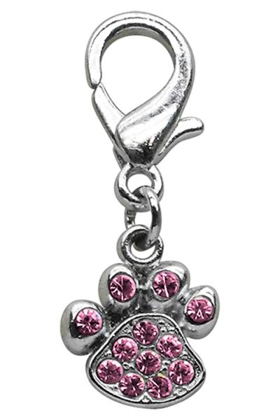 DOG CHARMS: Beautiful Crystals Dog Dangle Paw Print Charm for Dog Collars