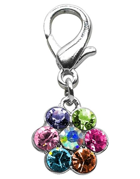 Pet Charms: Beautiful Crystals Dog Dangle Flower Charm for Dog Collars