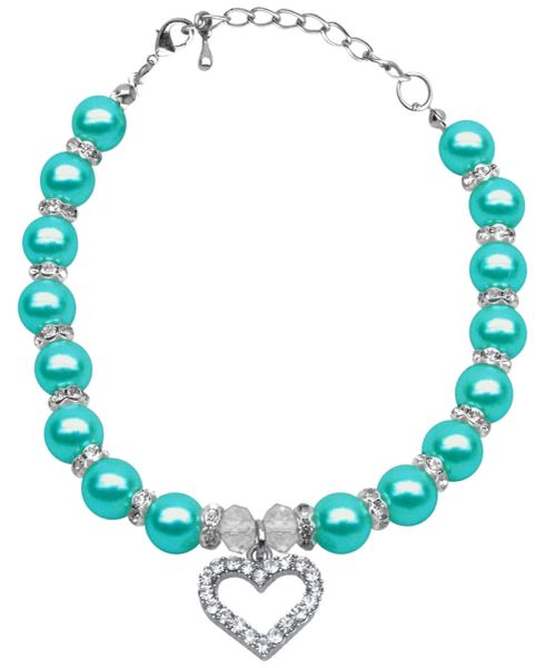 Dog Necklaces: Beautiful Heart and Pearls Dog Necklaces in Different Colors and Sizes Mirage
