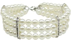 Dog Necklaces: Beautiful Three Row Faux Pearl Dog Necklace Different Colors and Sizes Mirage