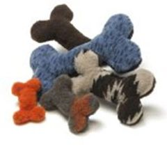 DOG TOY: Soft Snuggly, Sturdy, Handcrafted Bone Shape Dog Toy with Squeaker