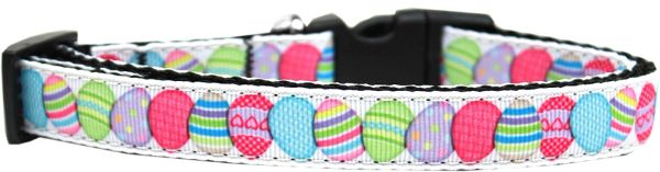 Nylon Dog Collars: Nylon Ribbon Dog Collar EASTER EGGS Mirage Pet Products USA - Matching Leash Sold Separately
