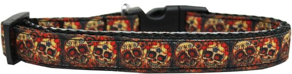 Holiday Nylon Dog Collars: Nylon Ribbon Collar SKULLS CROSSED LOVERS - Matching Leash Sold Separately