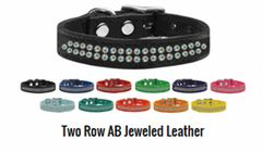 Leather Dog Collars: Genuine Leather Jeweled Dog Collar by Mirage - TWO ROWS AB CRYSTALS