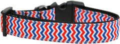 Dog Collars: Nylon Ribbon Collar by Mirage Pet Products USA - PATRIOTIC CHEVRONS