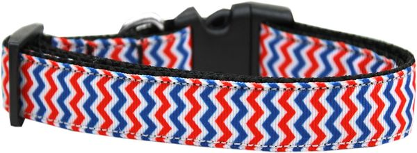 Dog Collars: Nylon Ribbon Collar PATRIOTIC CHEVRONS - Matching Leash Sold Separately