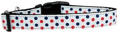Dog Collars: Nylon Ribbon Collar by Mirage Pet Products USA - PATRIOTIC POLKA DOTS