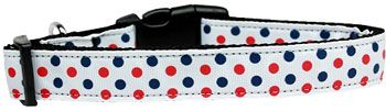 Dog Collars: Nylon Ribbon Collar PATRIOTIC POLKA DOTS - Matching Leash Sold Separately