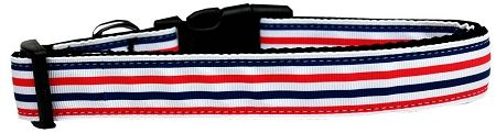 Dog Collars: Nylon Ribbon Collar PATRIOTIC STRIPES - Matching Leash Sold Separately