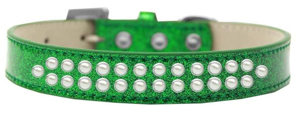 BLING DOG COLLARS: TWO ROWS PEARLS on ICE CREAM DOG COLLAR in Various Sizes & Colors