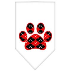 Dog Bandanas: Screen Print ARGYLE PAW RED Cotton Dog Bandanas by Mirage