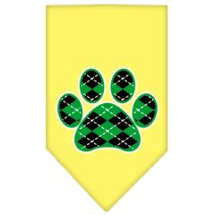 Dog Bandanas: Screen Print Dog Bandana 'ARGYLE PAW GREEN' Different Colors in Small or Large by Mirage USA