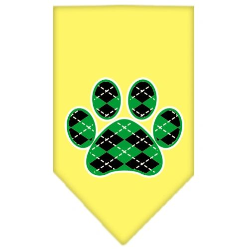 Dog Bandanas: Screen Print Dog Bandana 'ARGYLE PAW GREEN' in Various Colors